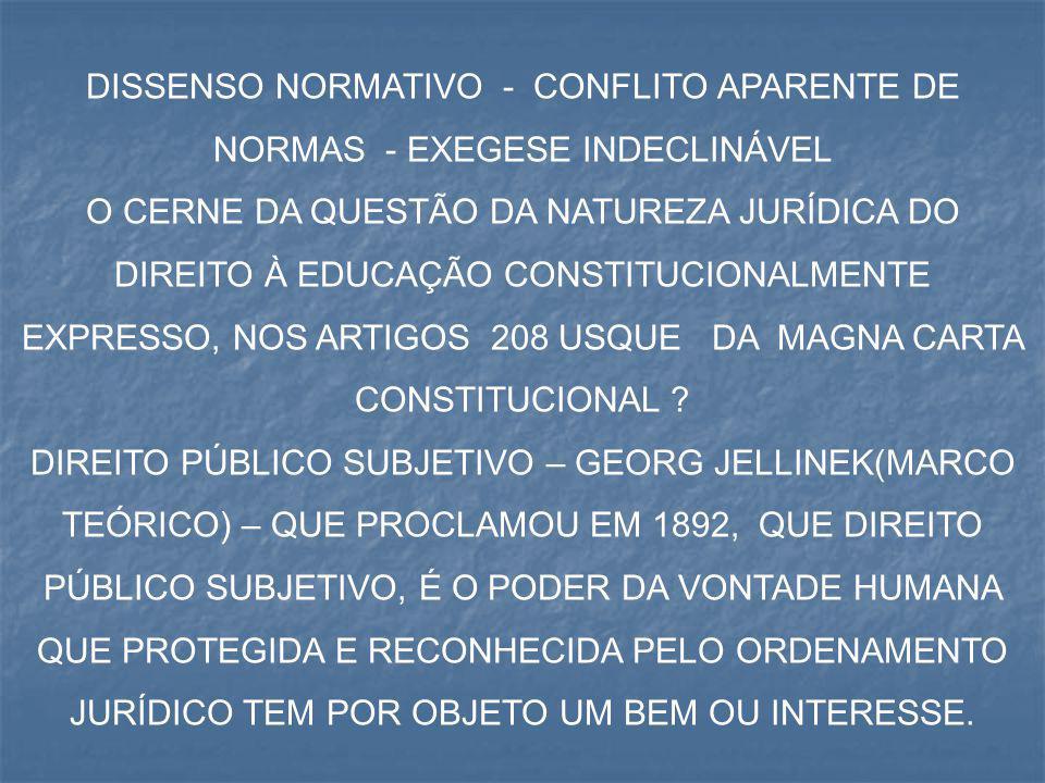 DISSENSO NORMATIVO - CONFLITO APARENTE DE NORMAS - EXEGESE INDECLINÁVEL