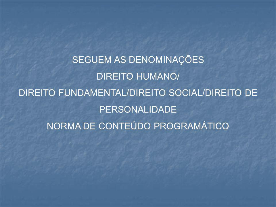 SEGUEM AS DENOMINAÇÕES DIREITO HUMANO/