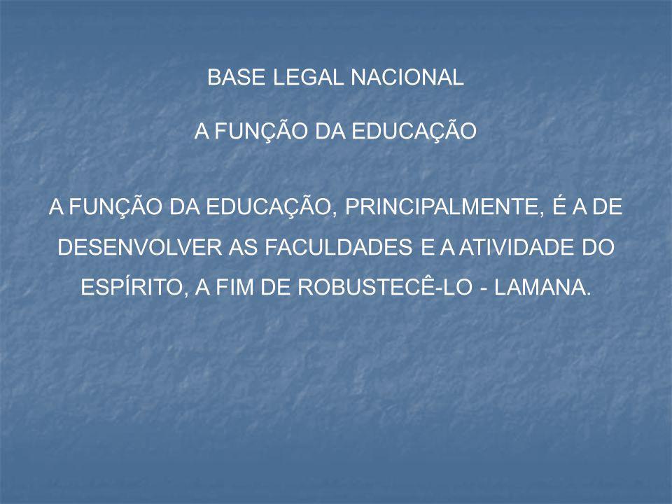 BASE LEGAL NACIONAL A FUNÇÃO DA EDUCAÇÃO.
