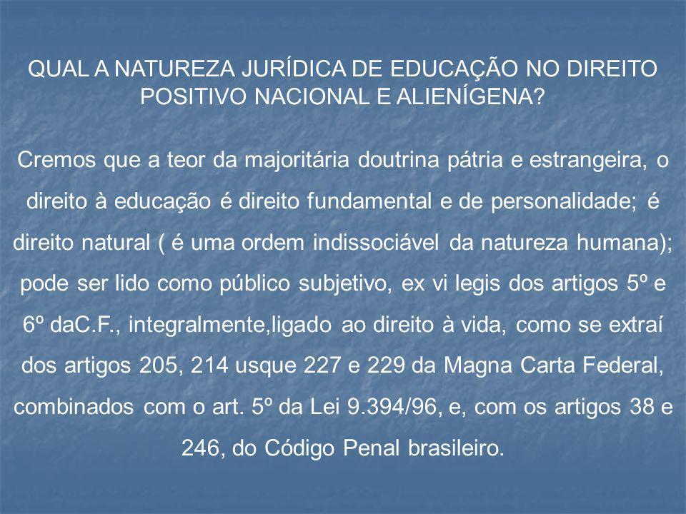 QUAL A NATUREZA JURÍDICA DE EDUCAÇÃO NO DIREITO POSITIVO NACIONAL E ALIENÍGENA