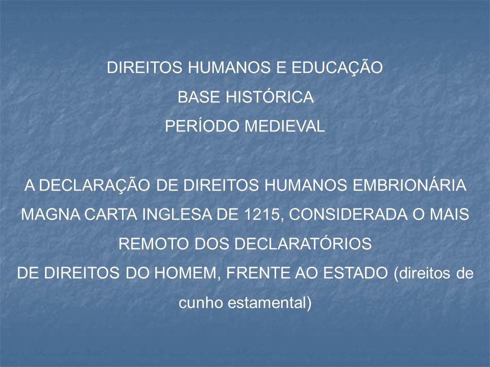 DIREITOS HUMANOS E EDUCAÇÃO BASE HISTÓRICA PERÍODO MEDIEVAL