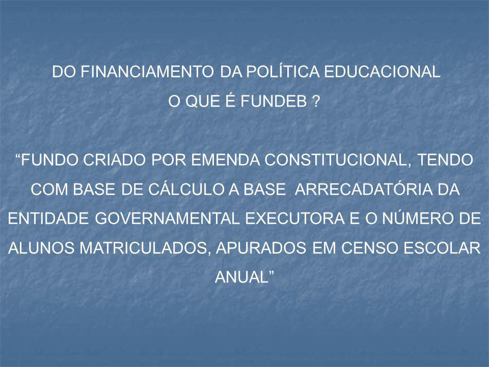 DO FINANCIAMENTO DA POLÍTICA EDUCACIONAL