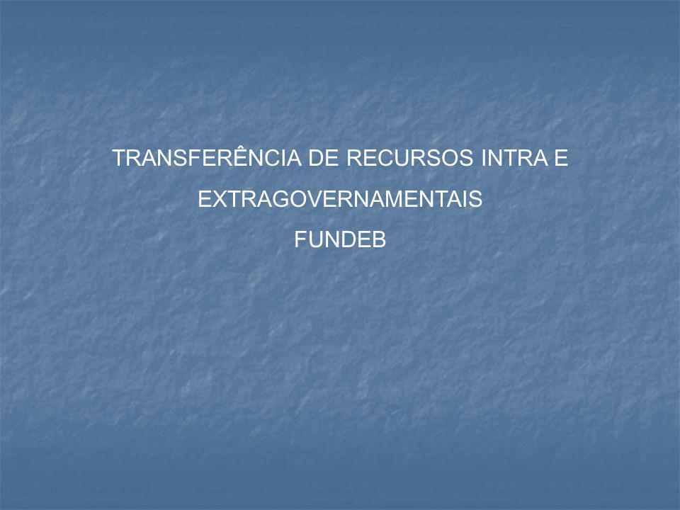 TRANSFERÊNCIA DE RECURSOS INTRA E EXTRAGOVERNAMENTAIS