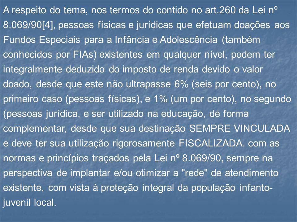 A respeito do tema, nos termos do contido no art. 260 da Lei nº 8