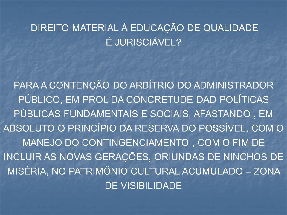 DIREITO MATERIAL Á EDUCAÇÃO DE QUALIDADE