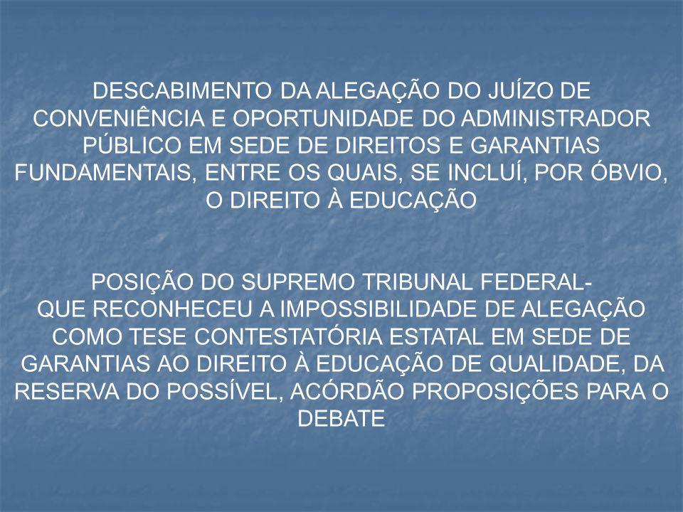 POSIÇÃO DO SUPREMO TRIBUNAL FEDERAL-