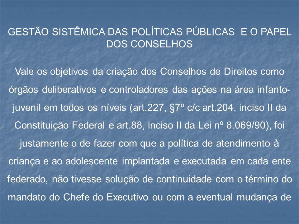 GESTÃO SISTÊMICA DAS POLÍTICAS PÚBLICAS E O PAPEL DOS CONSELHOS