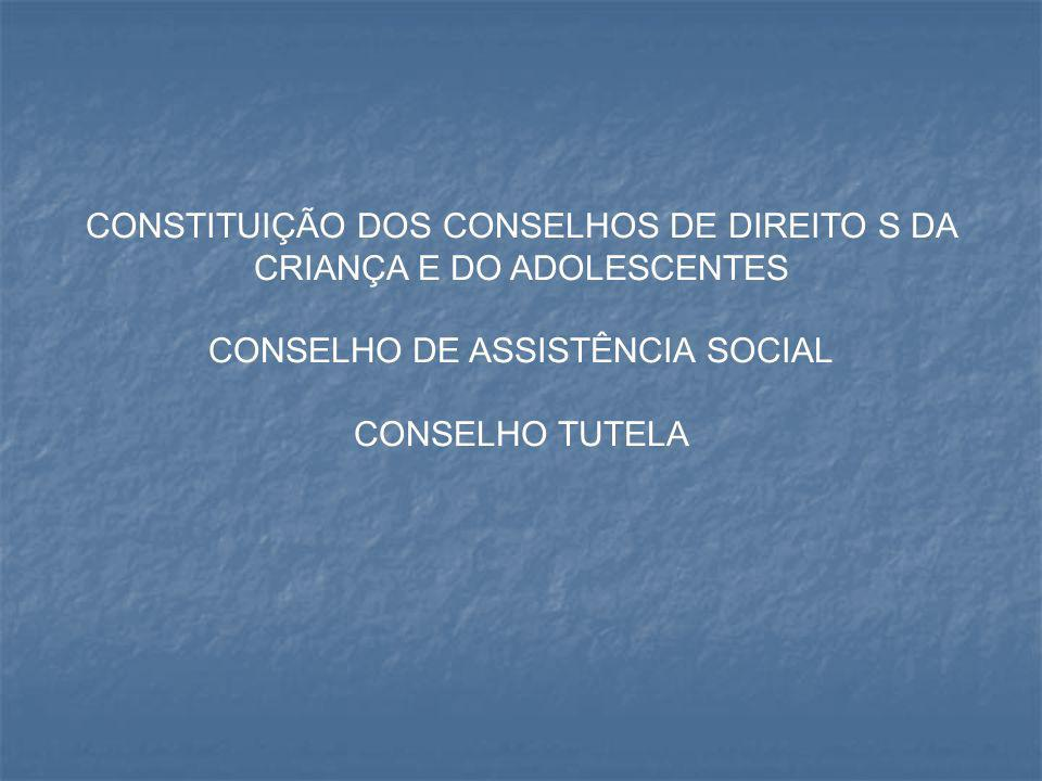 CONSTITUIÇÃO DOS CONSELHOS DE DIREITO S DA CRIANÇA E DO ADOLESCENTES