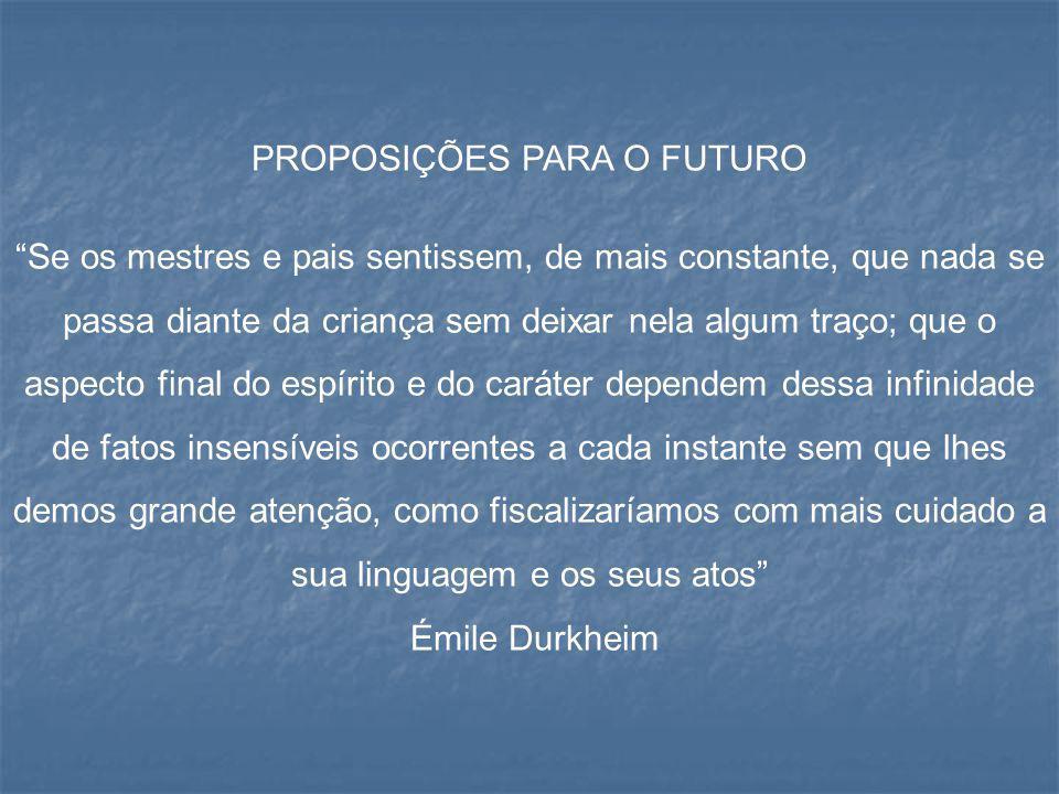 PROPOSIÇÕES PARA O FUTURO