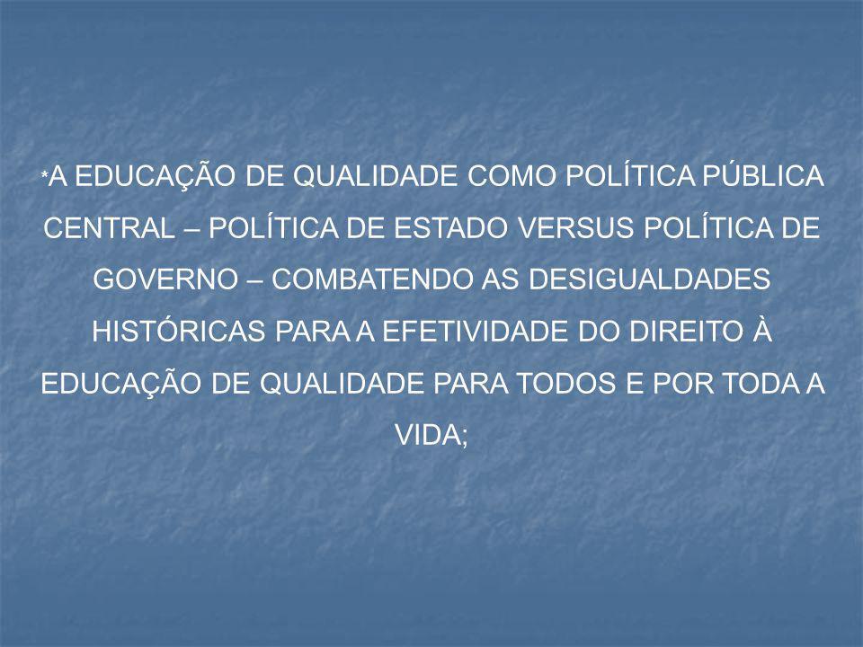 *A EDUCAÇÃO DE QUALIDADE COMO POLÍTICA PÚBLICA CENTRAL – POLÍTICA DE ESTADO VERSUS POLÍTICA DE GOVERNO – COMBATENDO AS DESIGUALDADES HISTÓRICAS PARA A EFETIVIDADE DO DIREITO À EDUCAÇÃO DE QUALIDADE PARA TODOS E POR TODA A VIDA;