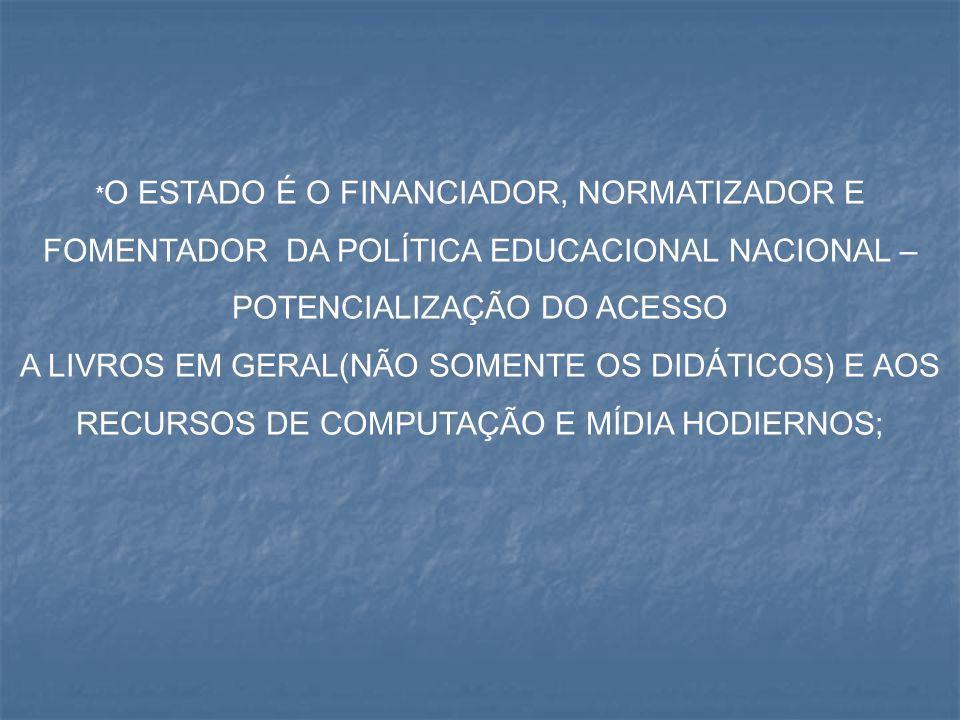 *O ESTADO É O FINANCIADOR, NORMATIZADOR E FOMENTADOR DA POLÍTICA EDUCACIONAL NACIONAL – POTENCIALIZAÇÃO DO ACESSO