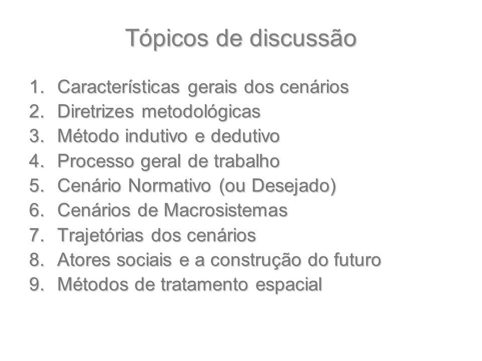 Tópicos de discussão Características gerais dos cenários