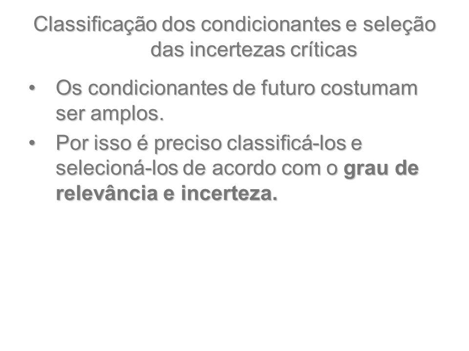 Classificação dos condicionantes e seleção das incertezas críticas