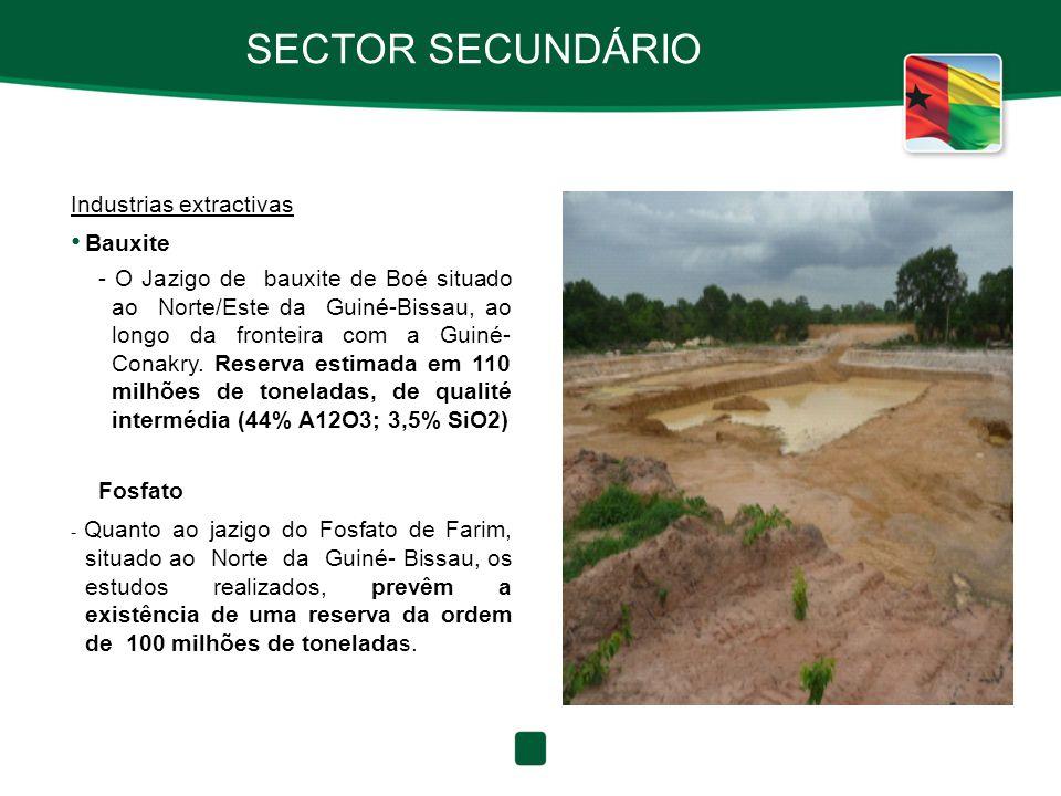 SECTOR SECUNDÁRIO Industrias extractivas Bauxite
