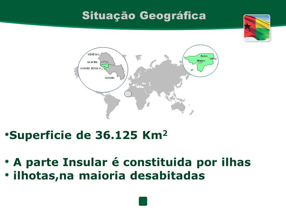 Situação Geográfica Superficie de 36.125 Km2. A parte Insular é constituida por ilhas.