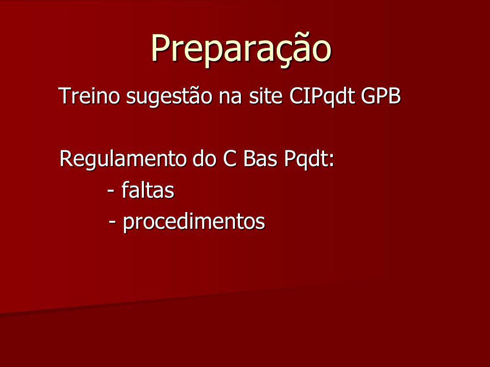 Treino sugestão na site CIPqdt GPB