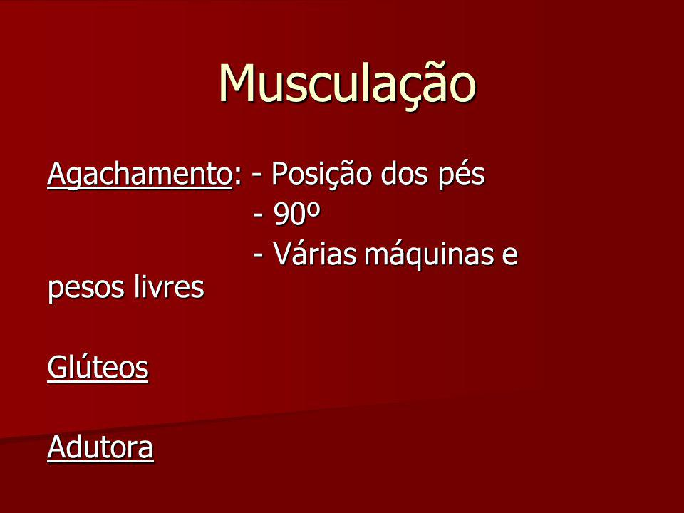 Musculação Agachamento: - Posição dos pés - 90º