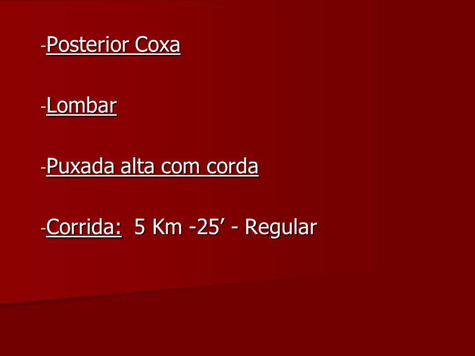 Posterior Coxa Lombar Puxada alta com corda Corrida: 5 Km -25' - Regular