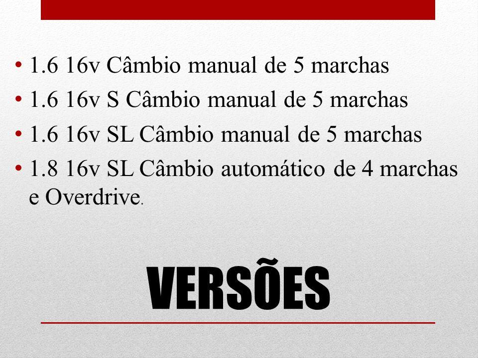 VERSÕES 1.6 16v Câmbio manual de 5 marchas