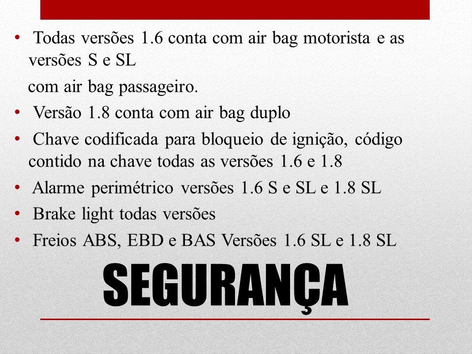 Todas versões 1.6 conta com air bag motorista e as versões S e SL
