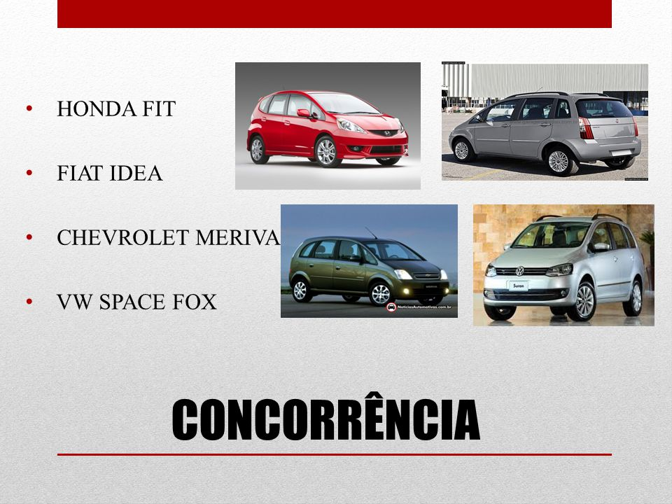HONDA FIT FIAT IDEA CHEVROLET MERIVA VW SPACE FOX CONCORRÊNCIA