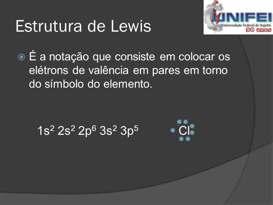 Estrutura de Lewis 1s2 2s2 2p6 3s2 3p5 Cl