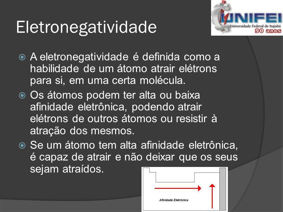 Eletronegatividade A eletronegatividade é definida como a habilidade de um átomo atrair elétrons para si, em uma certa molécula.