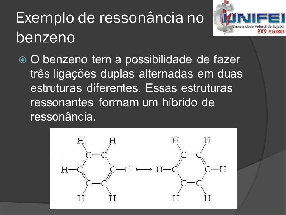 Exemplo de ressonância no benzeno