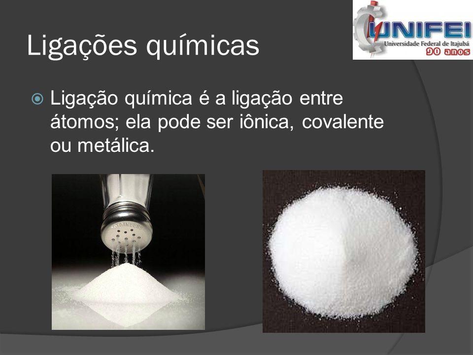 Ligações químicas Ligação química é a ligação entre átomos; ela pode ser iônica, covalente ou metálica.
