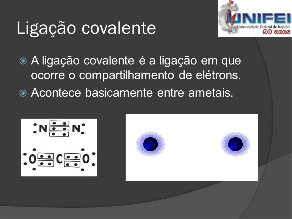 Ligação covalente A ligação covalente é a ligação em que ocorre o compartilhamento de elétrons.