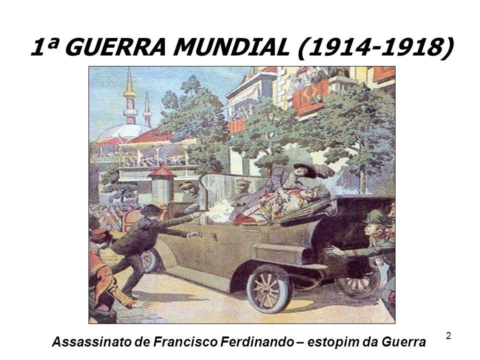 1ª GUERRA MUNDIAL (1914-1918) Assassinato de Francisco Ferdinando – estopim da Guerra