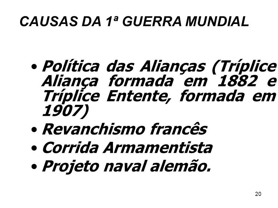 CAUSAS DA 1ª GUERRA MUNDIAL