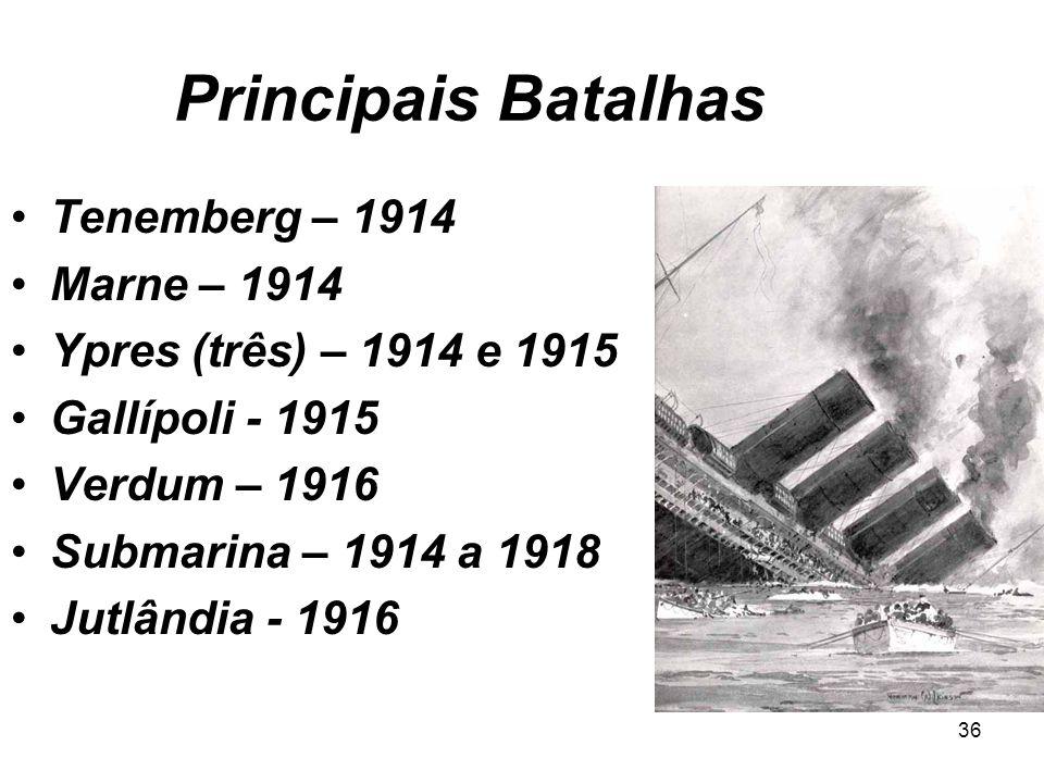 Principais Batalhas Tenemberg – 1914 Marne – 1914