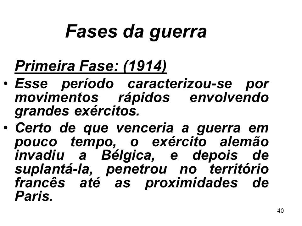 Fases da guerra Primeira Fase: (1914) Esse período caracterizou-se por movimentos rápidos envolvendo grandes exércitos.