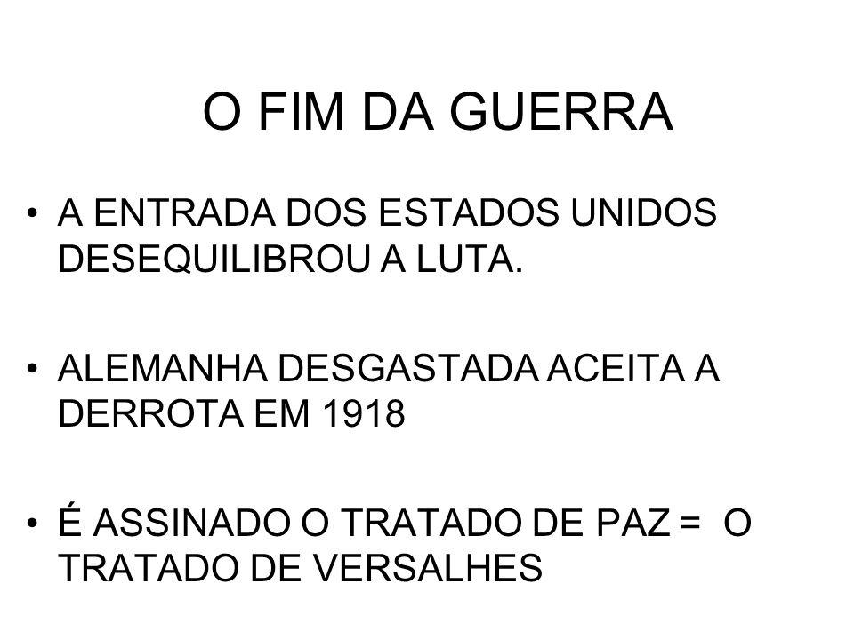 O FIM DA GUERRA A ENTRADA DOS ESTADOS UNIDOS DESEQUILIBROU A LUTA.
