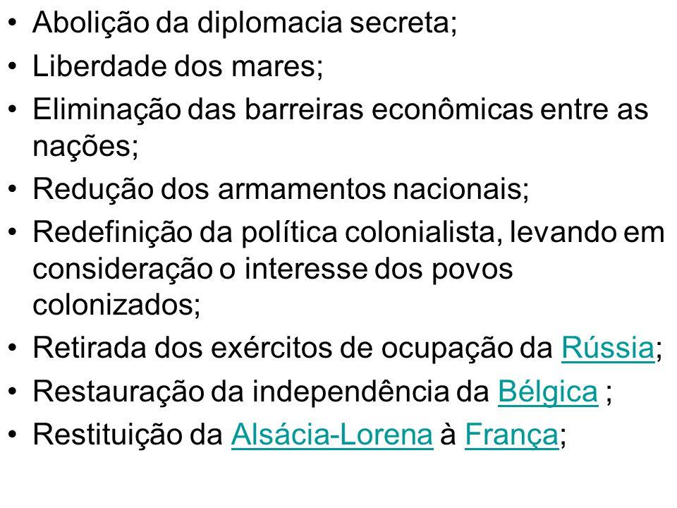 Abolição da diplomacia secreta;