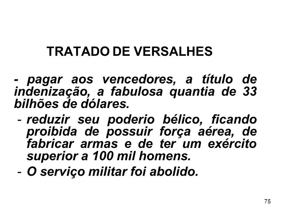 TRATADO DE VERSALHES - pagar aos vencedores, a título de indenização, a fabulosa quantia de 33 bilhões de dólares.