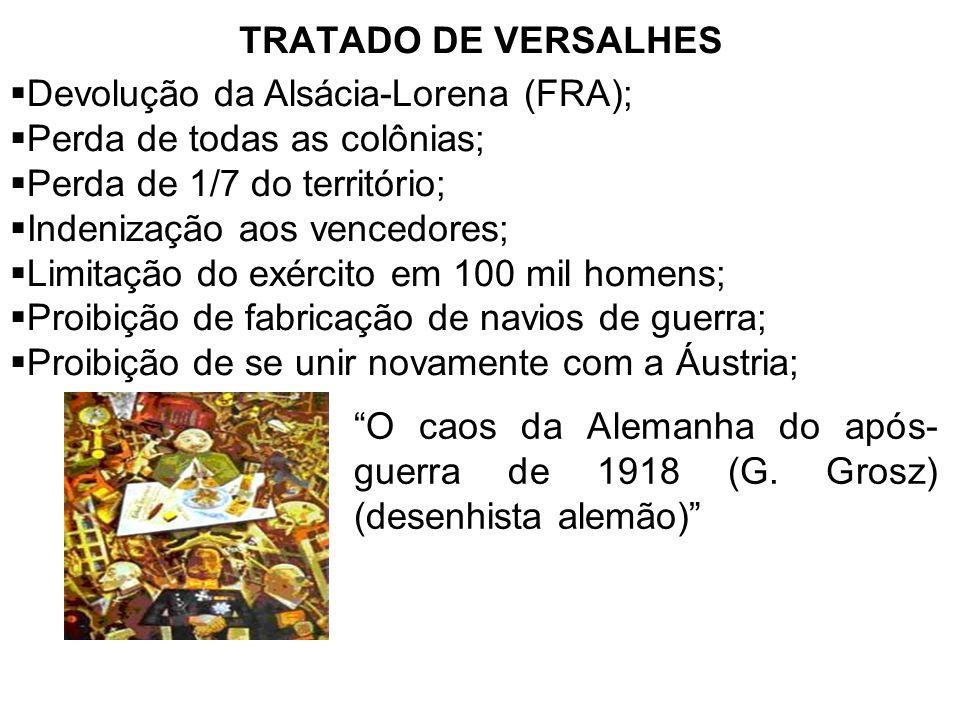 TRATADO DE VERSALHES Devolução da Alsácia-Lorena (FRA); Perda de todas as colônias; Perda de 1/7 do território;