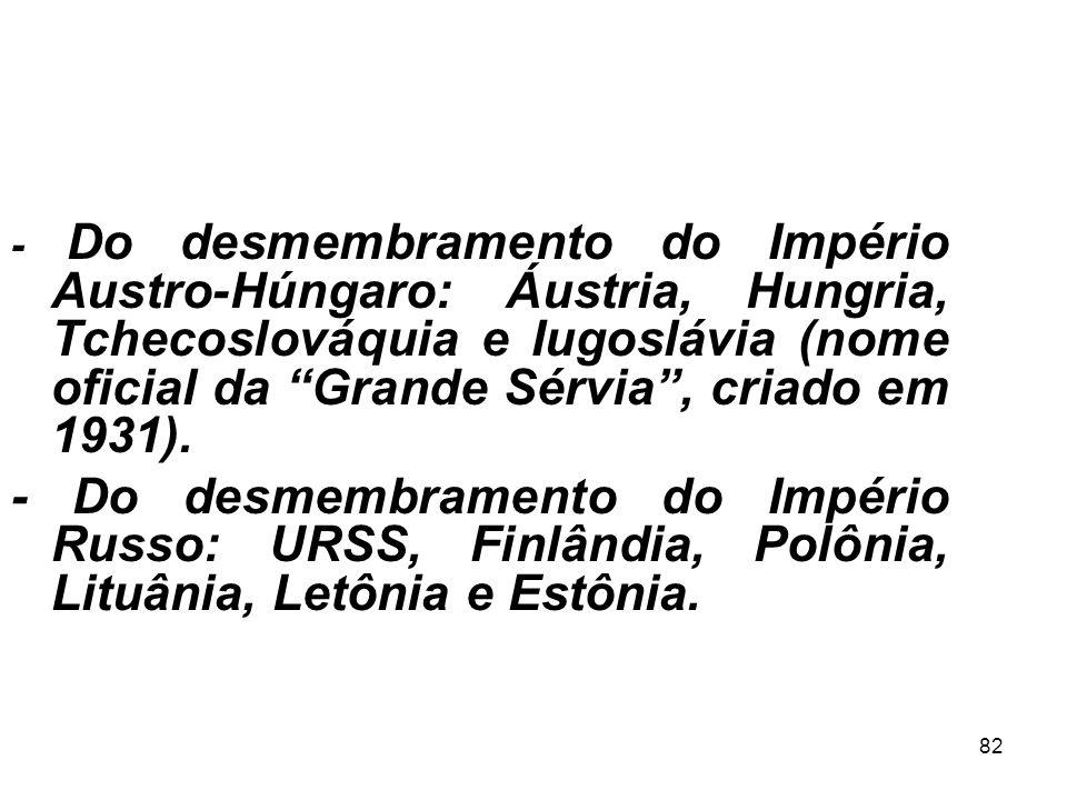 - Do desmembramento do Império Austro-Húngaro: Áustria, Hungria, Tchecoslováquia e Iugoslávia (nome oficial da Grande Sérvia , criado em 1931).
