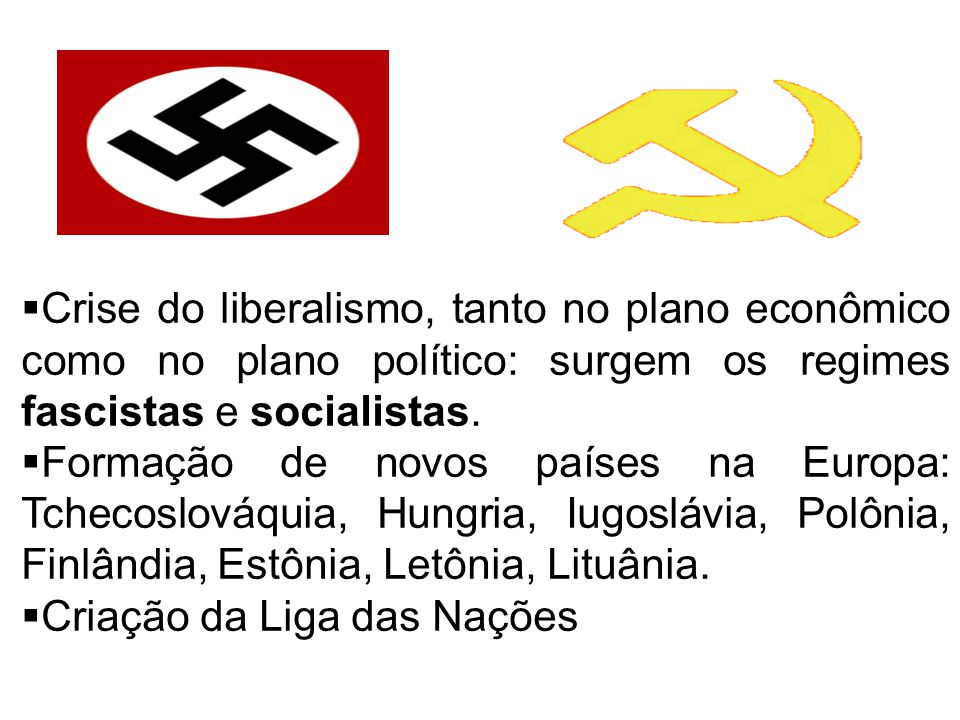 Crise do liberalismo, tanto no plano econômico como no plano político: surgem os regimes fascistas e socialistas.