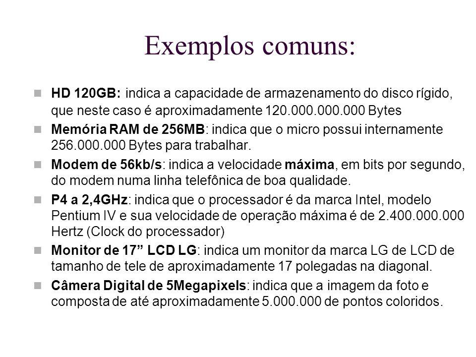 Exemplos comuns: HD 120GB: indica a capacidade de armazenamento do disco rígido, que neste caso é aproximadamente 120.000.000.000 Bytes.
