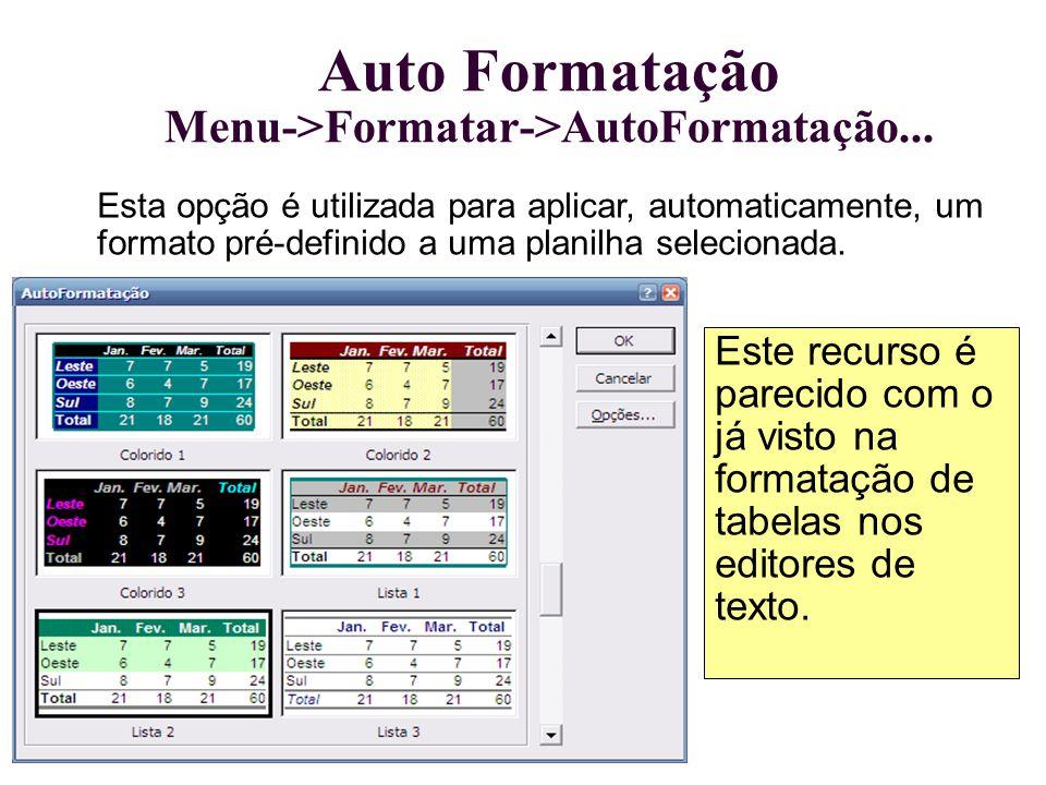 Auto Formatação Menu->Formatar->AutoFormatação...