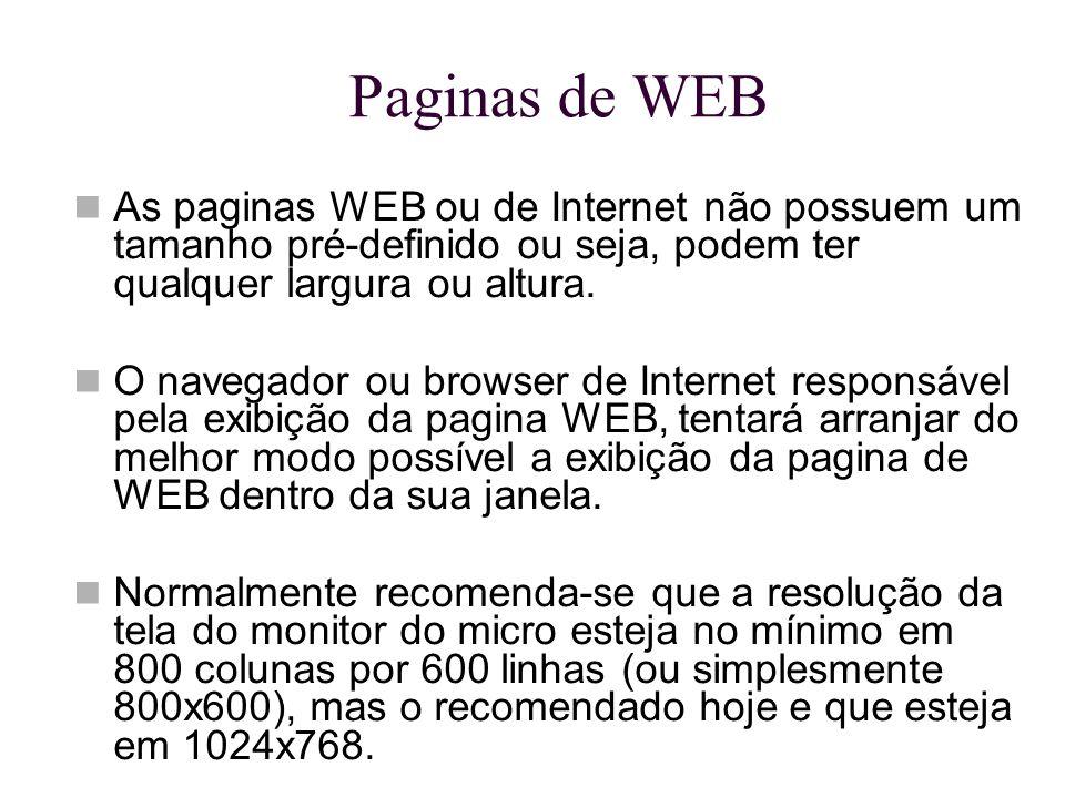 Paginas de WEB As paginas WEB ou de Internet não possuem um tamanho pré-definido ou seja, podem ter qualquer largura ou altura.