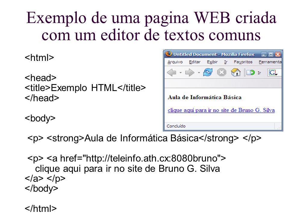 Exemplo de uma pagina WEB criada com um editor de textos comuns