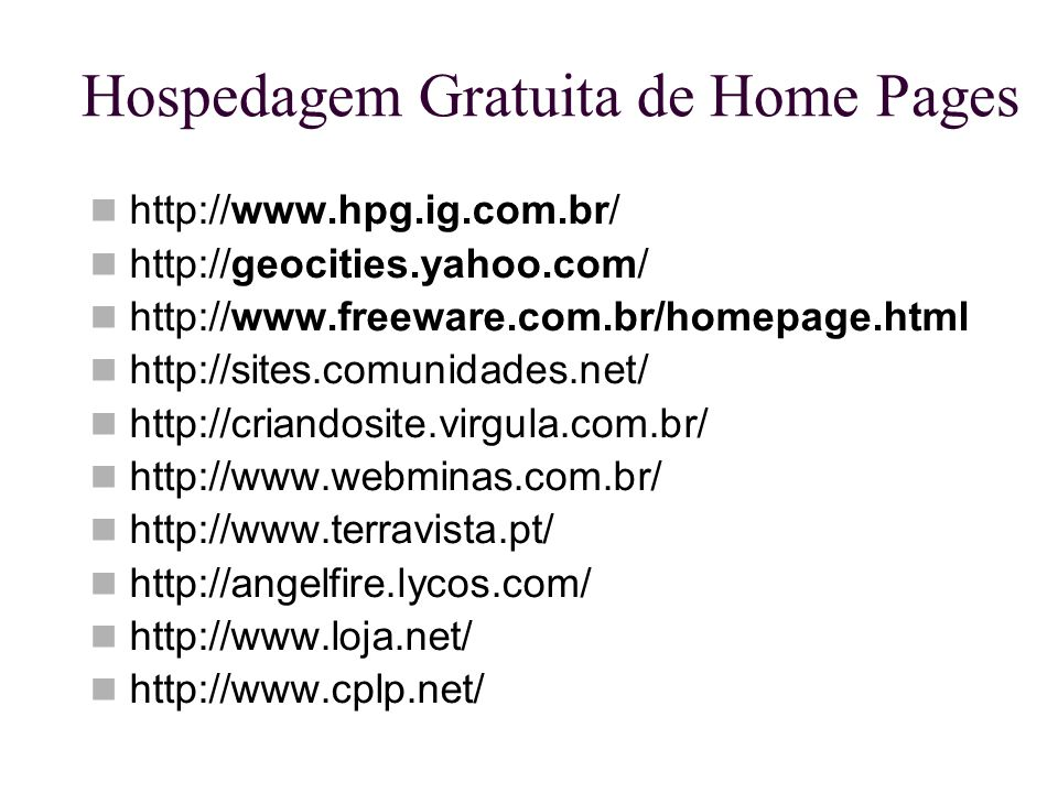 Hospedagem Gratuita de Home Pages