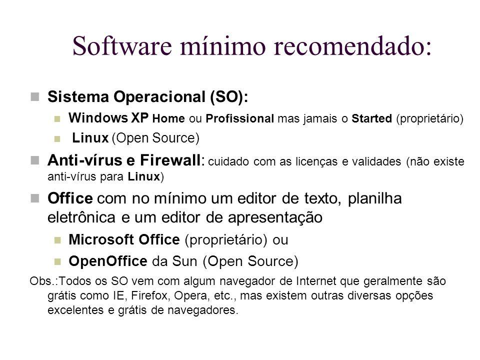 Software mínimo recomendado: