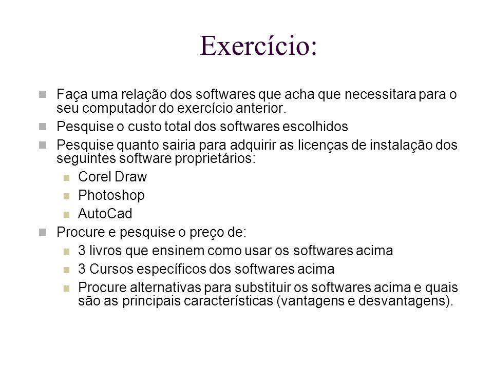 Exercício: Faça uma relação dos softwares que acha que necessitara para o seu computador do exercício anterior.
