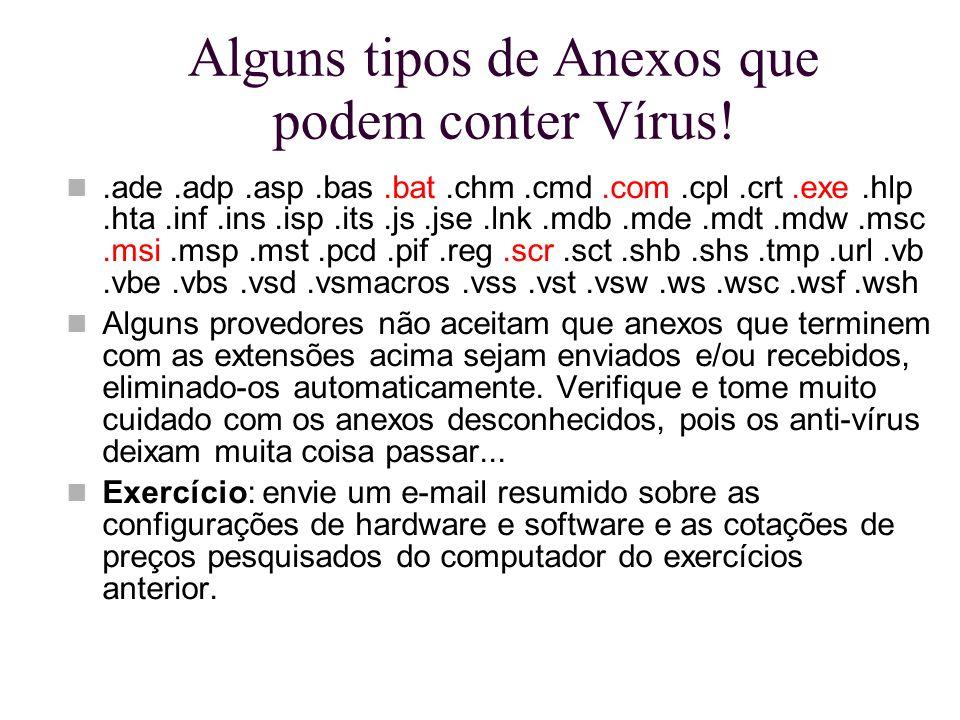 Alguns tipos de Anexos que podem conter Vírus!