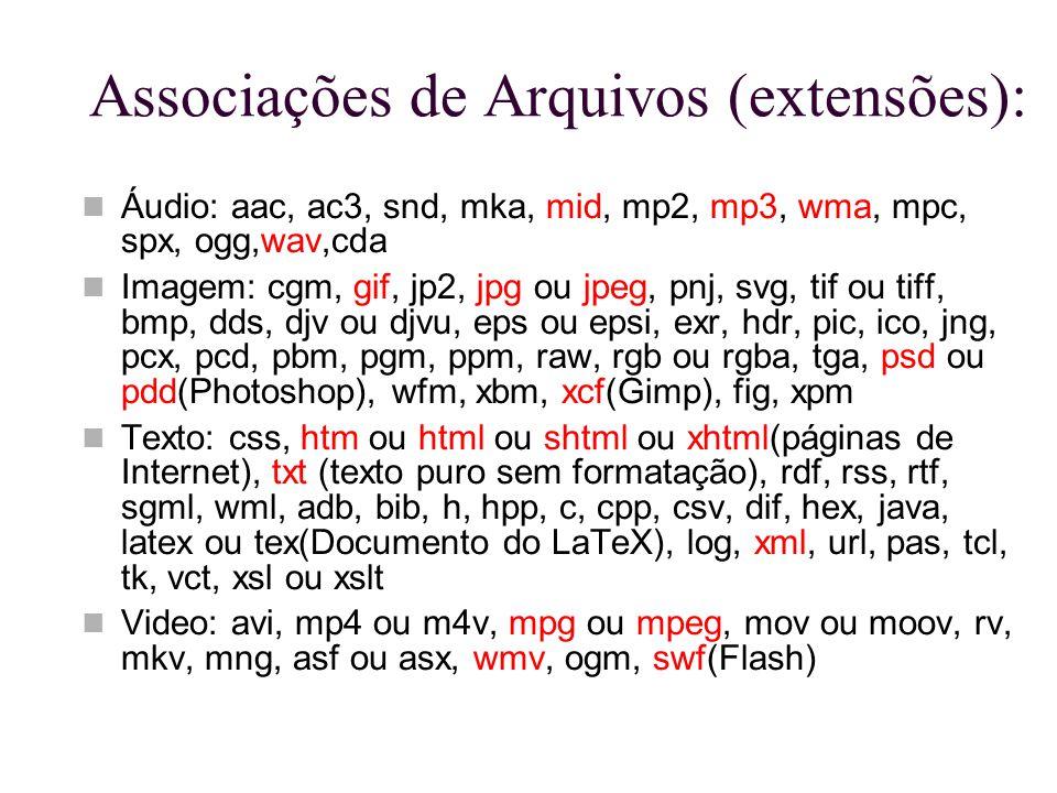 Associações de Arquivos (extensões):