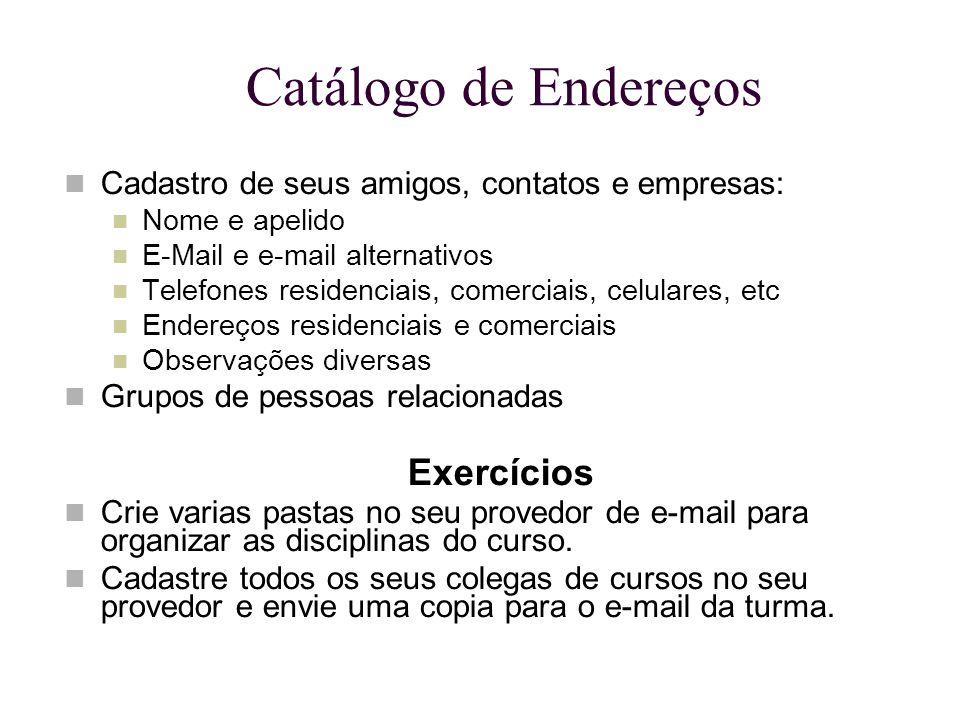 Catálogo de Endereços Exercícios